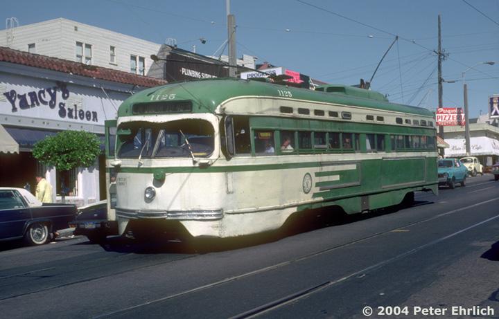 (127k, 720x461)<br><b>Country:</b> United States<br><b>City:</b> San Francisco/Bay Area, CA<br><b>System:</b> SF MUNI<br><b>Line:</b> MUNI Metro (N-Judah)<br><b>Location:</b> 9th/Irving <br><b>Car:</b> SF MUNI PCC St. Louis (St. Louis Car Co, 1946)  1125 <br><b>Photo by:</b> Peter Ehrlich<br><b>Date:</b> 9/19/1982<br><b>Notes:</b> Last day of regular PCC service in San Francisco.<br><b>Viewed (this week/total):</b> 7 / 2864