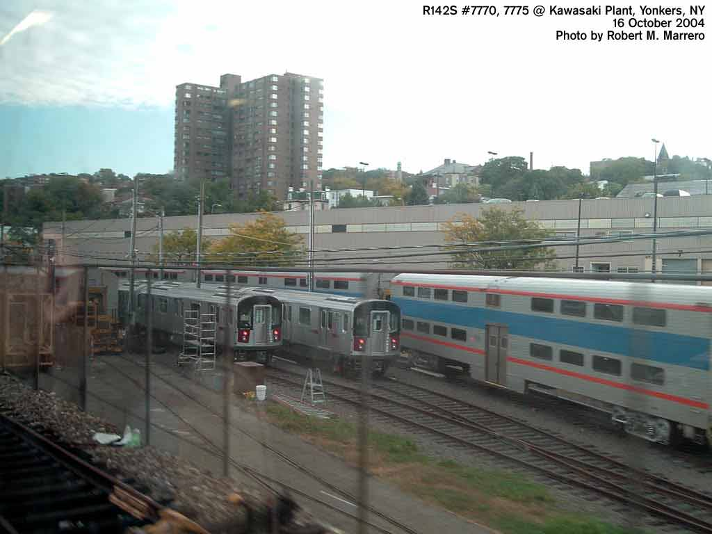 (46k, 1024x768)<br><b>Country:</b> United States<br><b>City:</b> New York<br><b>System:</b> New York City Transit<br><b>Location:</b> Kawasaki Plant, Yonkers, NY<br><b>Car:</b> R-142A (Supplemental Order, Kawasaki, 2003-2004)  7770/7775 <br><b>Photo by:</b> Robert Marrero<br><b>Date:</b> 10/18/2004<br><b>Viewed (this week/total):</b> 0 / 6489