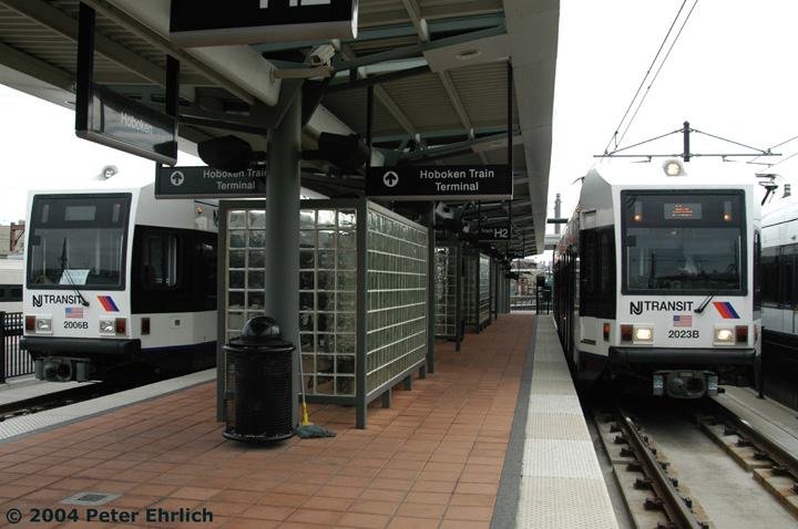 (131k, 720x478)<br><b>Country:</b> United States<br><b>City:</b> Hoboken, NJ<br><b>System:</b> Hudson Bergen Light Rail<br><b>Location:</b> Hoboken <br><b>Car:</b> NJT-HBLR LRV (Kinki-Sharyo, 1998-99)  2006 <br><b>Photo by:</b> Peter Ehrlich<br><b>Date:</b> 10/27/2004<br><b>Viewed (this week/total):</b> 0 / 2289