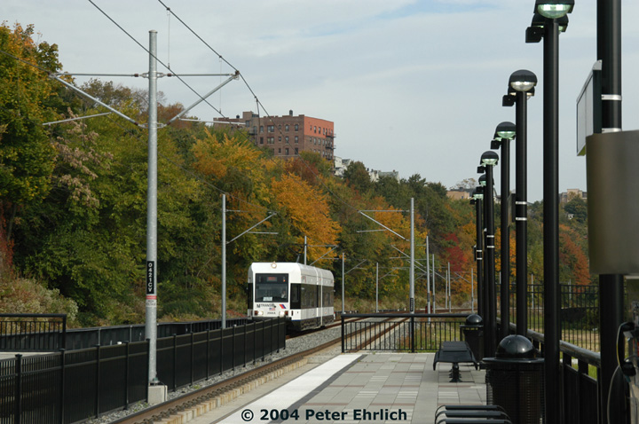 (155k, 720x478)<br><b>Country:</b> United States<br><b>City:</b> Hoboken, NJ<br><b>System:</b> Hudson Bergen Light Rail<br><b>Location:</b> 2nd Street <br><b>Car:</b> NJT-HBLR LRV (Kinki-Sharyo, 1998-99)  2006 <br><b>Photo by:</b> Peter Ehrlich<br><b>Date:</b> 10/27/2004<br><b>Viewed (this week/total):</b> 0 / 2383