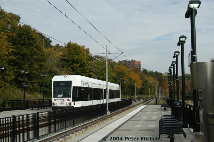 (146k, 720x478)<br><b>Country:</b> United States<br><b>City:</b> Hoboken, NJ<br><b>System:</b> Hudson Bergen Light Rail<br><b>Location:</b> 2nd Street <br><b>Car:</b> NJT-HBLR LRV (Kinki-Sharyo, 1998-99)  2006 <br><b>Photo by:</b> Peter Ehrlich<br><b>Date:</b> 10/27/2004<br><b>Viewed (this week/total):</b> 1 / 2483