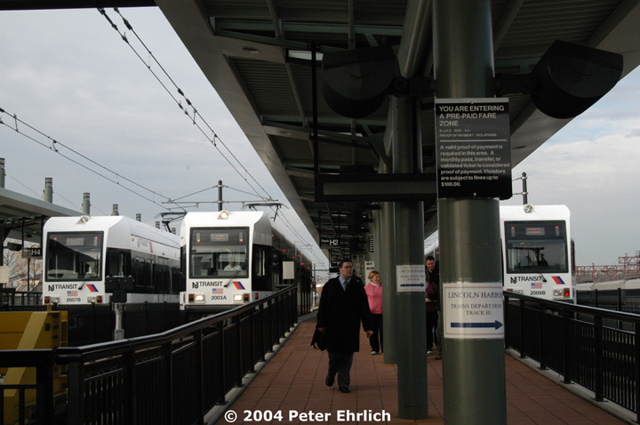 (120k, 720x478)<br><b>Country:</b> United States<br><b>City:</b> Hoboken, NJ<br><b>System:</b> Hudson Bergen Light Rail<br><b>Location:</b> Hoboken <br><b>Car:</b> NJT-HBLR LRV (Kinki-Sharyo, 1998-99)  2007 <br><b>Photo by:</b> Peter Ehrlich<br><b>Date:</b> 10/27/2004<br><b>Viewed (this week/total):</b> 0 / 2493