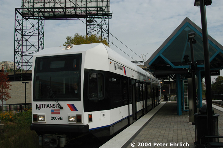 (133k, 720x478)<br><b>Country:</b> United States<br><b>City:</b> Weehawken, NJ<br><b>System:</b> Hudson Bergen Light Rail<br><b>Location:</b> Lincoln Harbor <br><b>Car:</b> NJT-HBLR LRV (Kinki-Sharyo, 1998-99)  2009 <br><b>Photo by:</b> Peter Ehrlich<br><b>Date:</b> 10/27/2004<br><b>Viewed (this week/total):</b> 1 / 2589