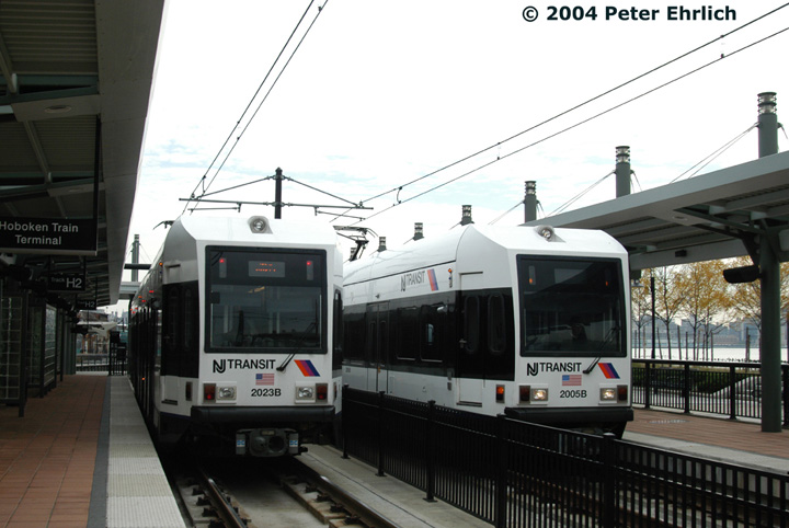 (120k, 720x482)<br><b>Country:</b> United States<br><b>City:</b> Hoboken, NJ<br><b>System:</b> Hudson Bergen Light Rail<br><b>Location:</b> Hoboken <br><b>Car:</b> NJT-HBLR LRV (Kinki-Sharyo, 1998-99)  2023/2005 <br><b>Photo by:</b> Peter Ehrlich<br><b>Date:</b> 10/27/2004<br><b>Viewed (this week/total):</b> 0 / 2035