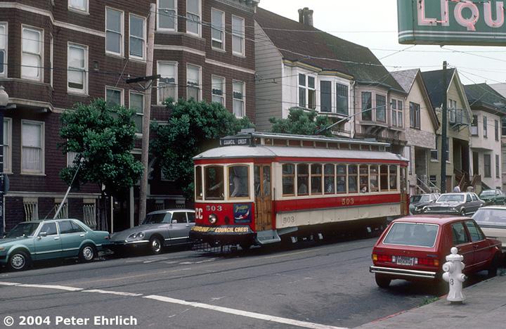 (180k, 720x468)<br><b>Country:</b> United States<br><b>City:</b> San Francisco/Bay Area, CA<br><b>System:</b> SF MUNI<br><b>Location:</b> 17th/Noe <br><b>Car:</b> Portland Traction Council Crest (J.G. Brill, 1904)  503 <br><b>Photo by:</b> Peter Ehrlich<br><b>Date:</b> 6/21/1985<br><b>Viewed (this week/total):</b> 2 / 1910