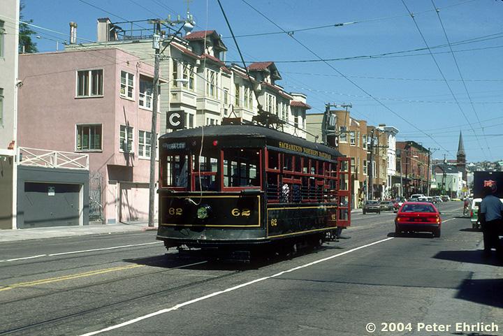 (190k, 720x481)<br><b>Country:</b> United States<br><b>City:</b> San Francisco/Bay Area, CA<br><b>System:</b> SF MUNI<br><b>Line:</b> MUNI Metro (J-Church)<br><b>Location:</b> Church/15th <br><b>Car:</b> Sacramento Northern Birney Saftey Car (American Car Co., 1920)  62 <br><b>Photo by:</b> Peter Ehrlich<br><b>Date:</b> 5/19/1984<br><b>Viewed (this week/total):</b> 6 / 2074