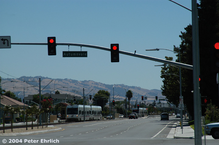 (114k, 720x478)<br><b>Country:</b> United States<br><b>City:</b> San Jose, CA<br><b>System:</b> Santa Clara VTA<br><b>Line:</b> VTA Tasman East/Capitol<br><b>Location:</b> Cropley <br><b>Car:</b> VTA Kinki-Sharyo 926/941 <br><b>Photo by:</b> Peter Ehrlich<br><b>Date:</b> 8/25/2004<br><b>Viewed (this week/total):</b> 0 / 1122