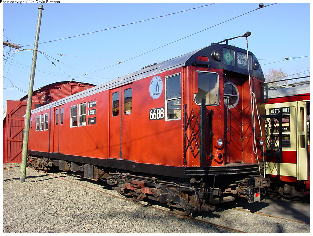 (250k, 1044x788)<br><b>Country:</b> United States<br><b>City:</b> East Haven/Branford, Ct.<br><b>System:</b> Shore Line Trolley Museum <br><b>Car:</b> R-17 (St. Louis, 1955-56) 6688 <br><b>Photo by:</b> David Pirmann<br><b>Date:</b> 11/14/2004<br><b>Viewed (this week/total):</b> 3 / 5314