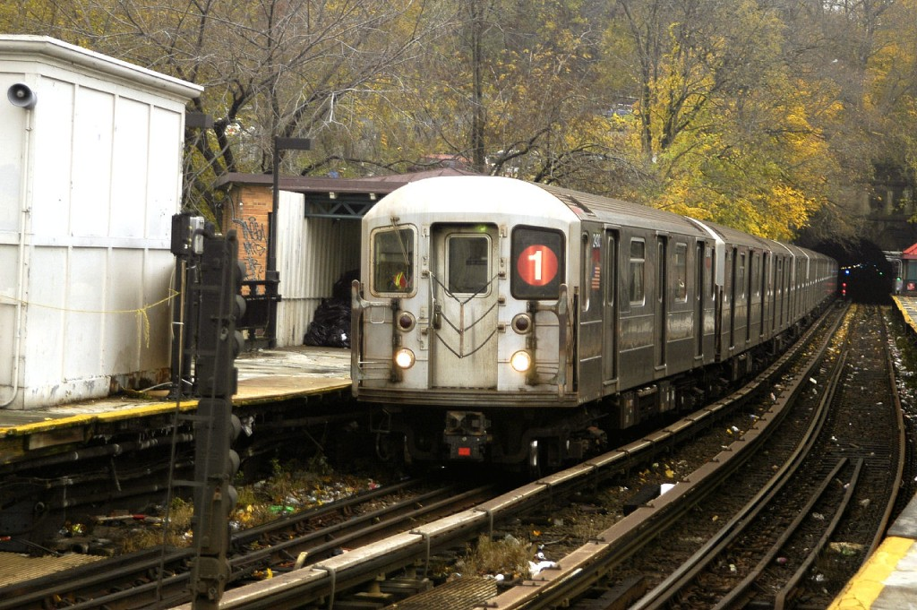 (233k, 1024x681)<br><b>Country:</b> United States<br><b>City:</b> New York<br><b>System:</b> New York City Transit<br><b>Line:</b> IRT West Side Line<br><b>Location:</b> Dyckman Street <br><b>Route:</b> 1<br><b>Car:</b> R-62A (Bombardier, 1984-1987)  2430 <br><b>Photo by:</b> Fred Guenther<br><b>Date:</b> 11/21/2004<br><b>Viewed (this week/total):</b> 1 / 4081