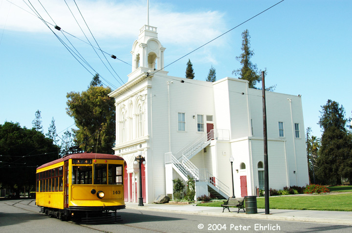 (147k, 720x478)<br><b>Country:</b> United States<br><b>City:</b> San Jose, CA<br><b>System:</b> Kelley Park Vintage Trolley <br><b>Car:</b>  143 <br><b>Photo by:</b> Peter Ehrlich<br><b>Date:</b> 3/28/2004<br><b>Viewed (this week/total):</b> 1 / 1410