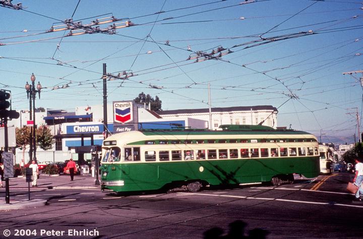 (175k, 720x475)<br><b>Country:</b> United States<br><b>City:</b> San Francisco/Bay Area, CA<br><b>System:</b> SF MUNI<br><b>Location:</b> Market/17th/Castro <br><b>Car:</b> SF MUNI PCC (Ex-SEPTA) (St. Louis Car Co., 1947-1948)  1058 <br><b>Photo by:</b> Peter Ehrlich<br><b>Date:</b> 9/5/1995<br><b>Viewed (this week/total):</b> 0 / 907