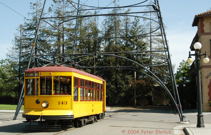 (206k, 720x459)<br><b>Country:</b> United States<br><b>City:</b> San Jose, CA<br><b>System:</b> Kelley Park Vintage Trolley <br><b>Car:</b>  143 <br><b>Photo by:</b> Peter Ehrlich<br><b>Date:</b> 3/28/2004<br><b>Viewed (this week/total):</b> 2 / 1795