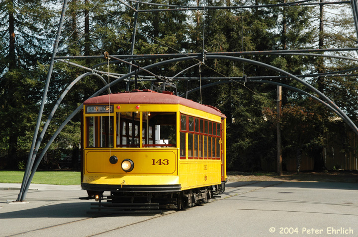 (211k, 720x478)<br><b>Country:</b> United States<br><b>City:</b> San Jose, CA<br><b>System:</b> Kelley Park Vintage Trolley <br><b>Car:</b>  143 <br><b>Photo by:</b> Peter Ehrlich<br><b>Date:</b> 3/28/2004<br><b>Viewed (this week/total):</b> 1 / 1856