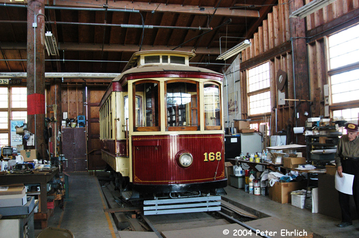 (192k, 720x478)<br><b>Country:</b> United States<br><b>City:</b> San Jose, CA<br><b>System:</b> Kelley Park Vintage Trolley <br><b>Car:</b> Porto Tram 168 <br><b>Photo by:</b> Peter Ehrlich<br><b>Date:</b> 3/28/2004<br><b>Notes:</b> Ex-Oporto 174, inside the San Jose Trolley & Railroad Corp.'s workshop.<br><b>Viewed (this week/total):</b> 1 / 1402