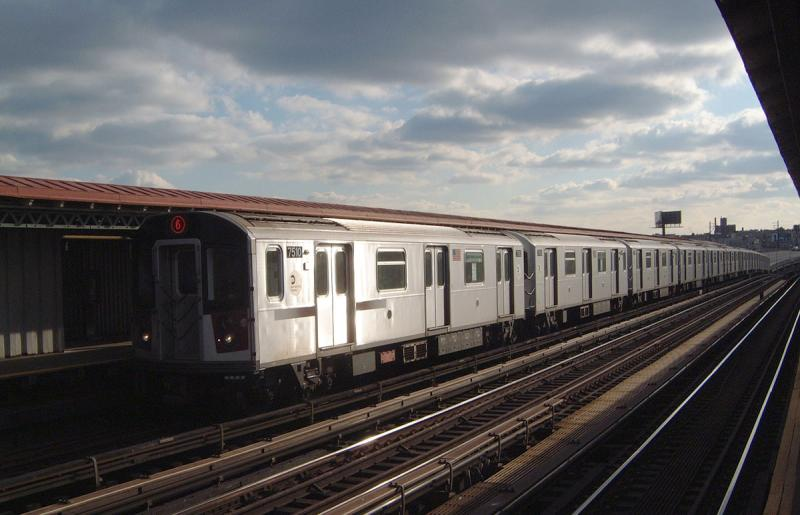 (55k, 800x515)<br><b>Country:</b> United States<br><b>City:</b> New York<br><b>System:</b> New York City Transit<br><b>Line:</b> IRT Pelham Line<br><b>Location:</b> Whitlock Avenue <br><b>Route:</b> 6<br><b>Car:</b> R-142A (Primary Order, Kawasaki, 1999-2002)  7510 <br><b>Photo by:</b> Bob Vogel<br><b>Date:</b> 12/20/2003<br><b>Viewed (this week/total):</b> 2 / 2635
