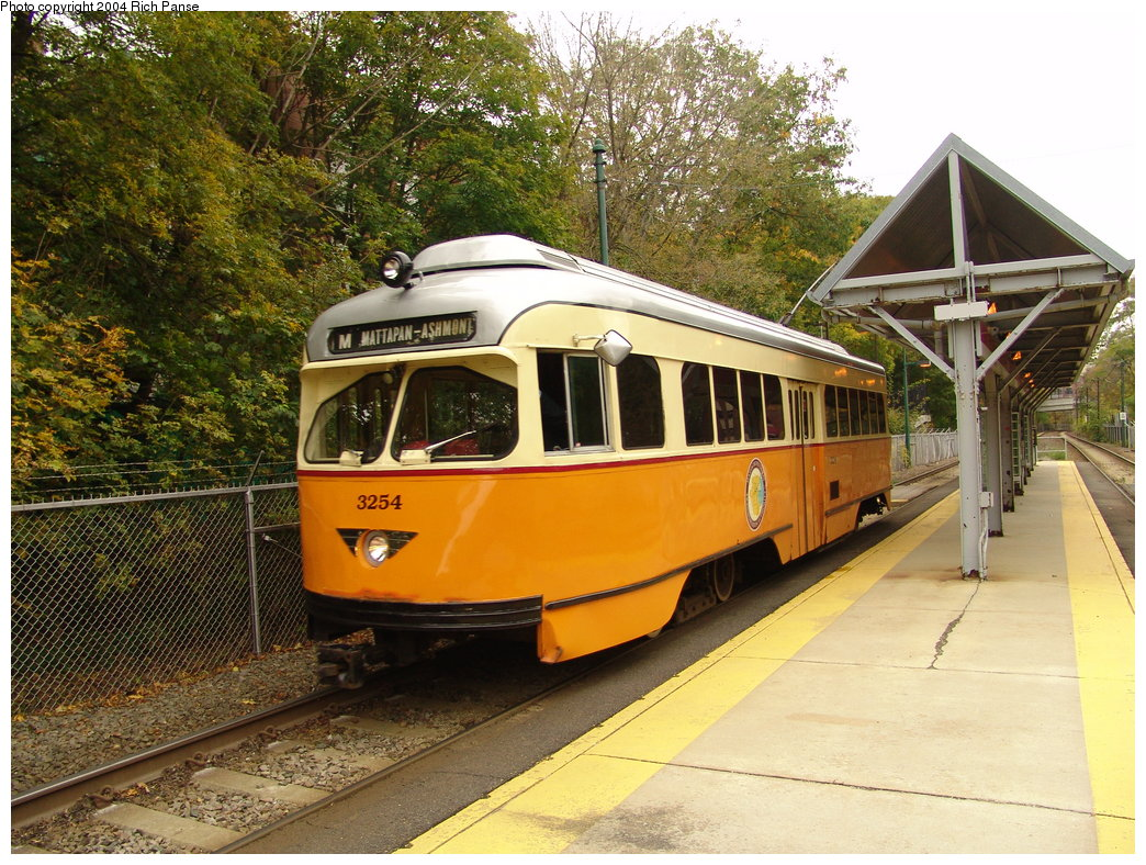 (269k, 1044x788)<br><b>Country:</b> United States<br><b>City:</b> Boston, MA<br><b>System:</b> MBTA<br><b>Line:</b> MBTA Mattapan-Ashmont Line<br><b>Location:</b> Butler Street <br><b>Car:</b> MBTA/BSRy PCC Wartime (Pullman-Standard, 1945-46)  3254 <br><b>Photo by:</b> Richard Panse<br><b>Date:</b> 10/26/2004<br><b>Viewed (this week/total):</b> 2 / 2549