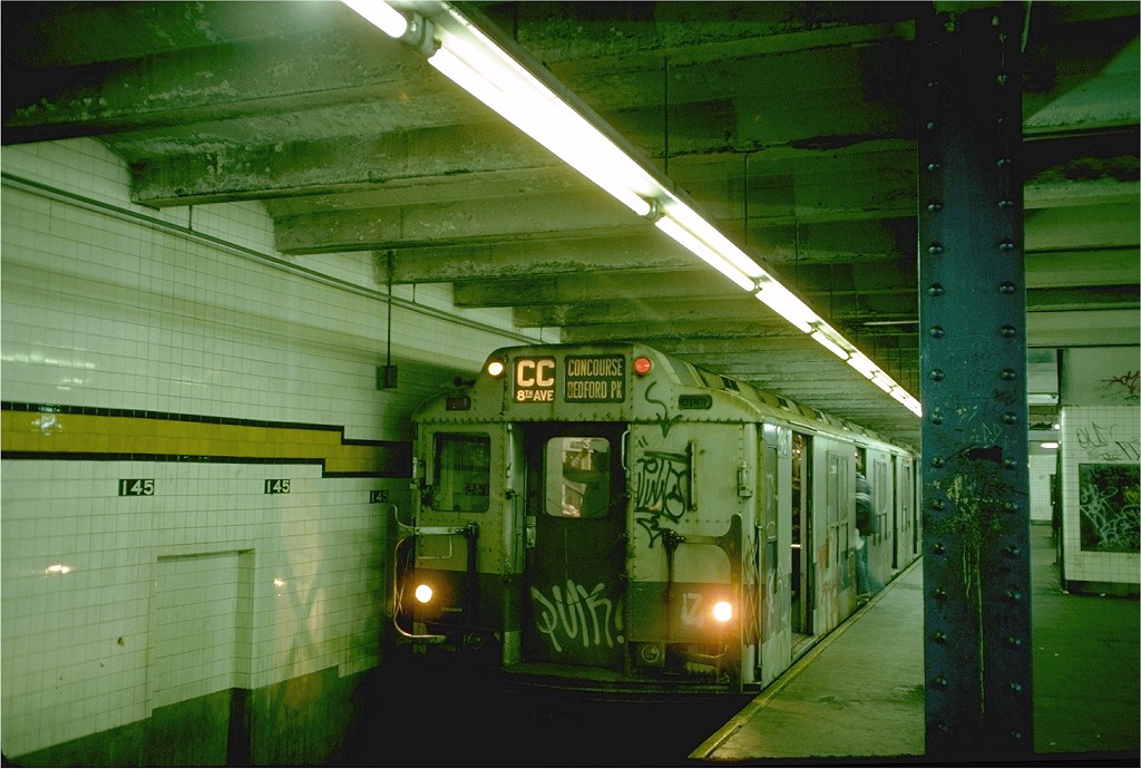(194k, 1024x690)<br><b>Country:</b> United States<br><b>City:</b> New York<br><b>System:</b> New York City Transit<br><b>Line:</b> IND 8th Avenue Line<br><b>Location:</b> 145th Street <br><b>Route:</b> CC<br><b>Car:</b> R-10 (American Car & Foundry, 1948) 2967 (ex-1820)<br><b>Photo by:</b> Doug Grotjahn<br><b>Collection of:</b> Joe Testagrose<br><b>Date:</b> 10/25/1976<br><b>Viewed (this week/total):</b> 2 / 3741