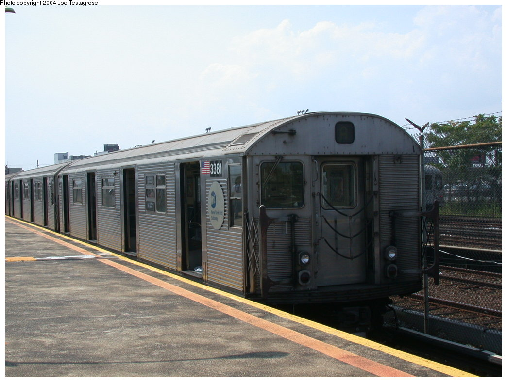 (189k, 1044x788)<br><b>Country:</b> United States<br><b>City:</b> New York<br><b>System:</b> New York City Transit<br><b>Line:</b> IND Rockaway<br><b>Location:</b> Rockaway Park/Beach 116th Street <br><b>Route:</b> A<br><b>Car:</b> R-32 (Budd, 1964)  3381 <br><b>Photo by:</b> Joe Testagrose<br><b>Date:</b> 7/17/2004<br><b>Viewed (this week/total):</b> 2 / 2948