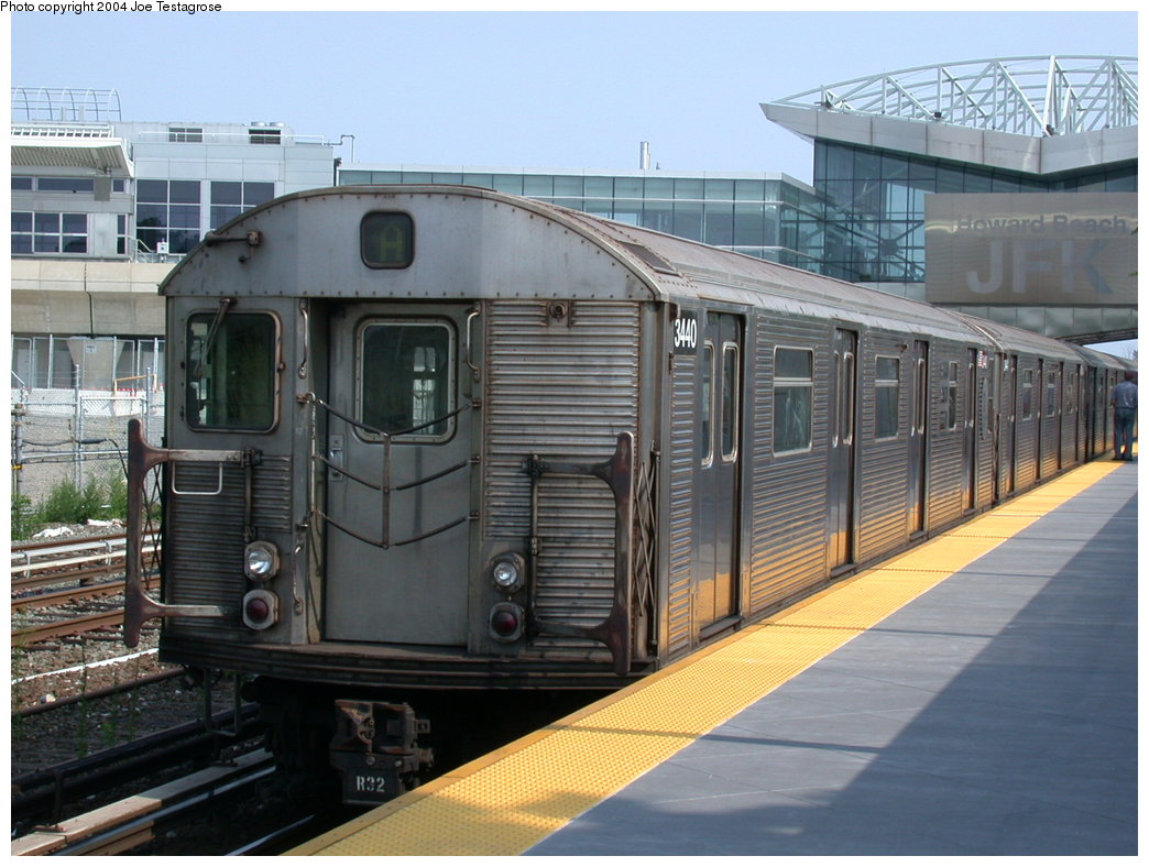 (209k, 1044x788)<br><b>Country:</b> United States<br><b>City:</b> New York<br><b>System:</b> New York City Transit<br><b>Line:</b> IND Rockaway<br><b>Location:</b> Howard Beach <br><b>Route:</b> A<br><b>Car:</b> R-32 (Budd, 1964)  3440 <br><b>Photo by:</b> Joe Testagrose<br><b>Date:</b> 7/17/2004<br><b>Viewed (this week/total):</b> 5 / 3632