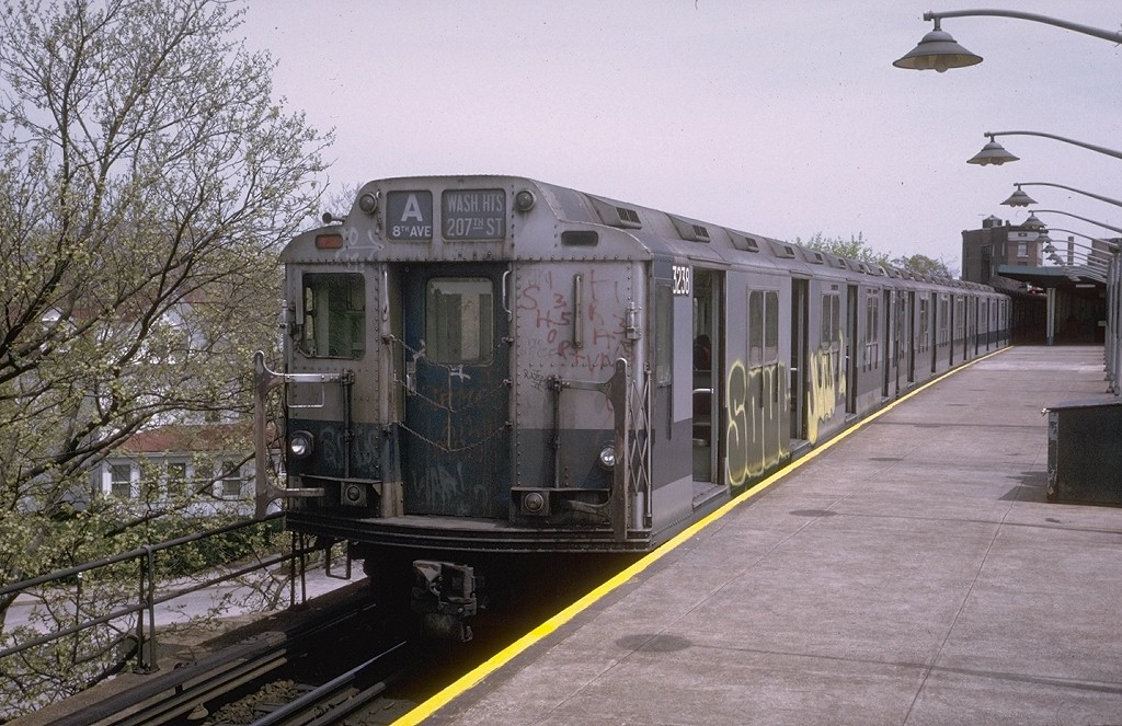 (225k, 1024x663)<br><b>Country:</b> United States<br><b>City:</b> New York<br><b>System:</b> New York City Transit<br><b>Line:</b> IND Rockaway<br><b>Location:</b> Mott Avenue/Far Rockaway <br><b>Route:</b> A<br><b>Car:</b> R-10 (American Car & Foundry, 1948) 3238 <br><b>Photo by:</b> Steve Zabel<br><b>Collection of:</b> Joe Testagrose<br><b>Date:</b> 5/9/1974<br><b>Viewed (this week/total):</b> 3 / 3571