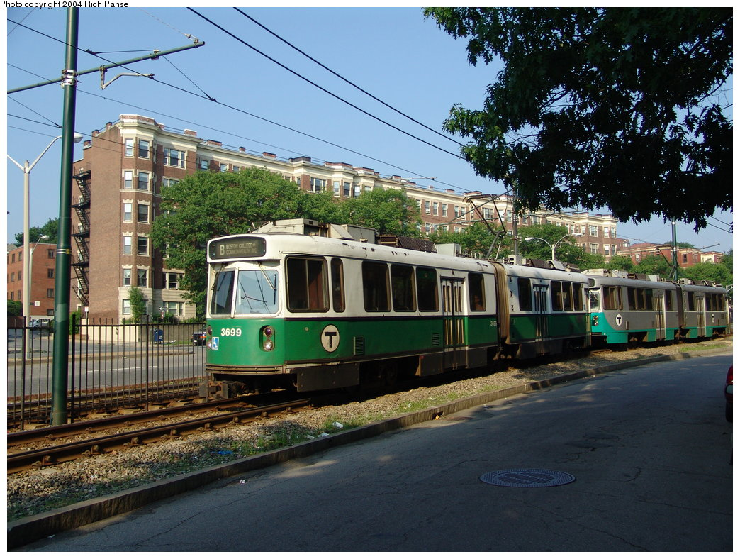 (250k, 1044x788)<br><b>Country:</b> United States<br><b>City:</b> Boston, MA<br><b>System:</b> MBTA<br><b>Line:</b> MBTA Green (B)<br><b>Location:</b> Commonwealth & Allston <br><b>Car:</b> MBTA Type 7 LRV (Kinki-Sharyo, 1986-87)  3699 <br><b>Photo by:</b> Richard Panse<br><b>Date:</b> 6/7/2004<br><b>Viewed (this week/total):</b> 3 / 1912