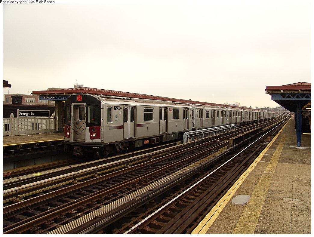 (207k, 1044x788)<br><b>Country:</b> United States<br><b>City:</b> New York<br><b>System:</b> New York City Transit<br><b>Line:</b> IRT Pelham Line<br><b>Location:</b> Zerega Avenue <br><b>Route:</b> 6<br><b>Car:</b> R-142A (Primary Order, Kawasaki, 1999-2002)  7550 <br><b>Photo by:</b> Richard Panse<br><b>Date:</b> 12/19/2004<br><b>Viewed (this week/total):</b> 0 / 3450