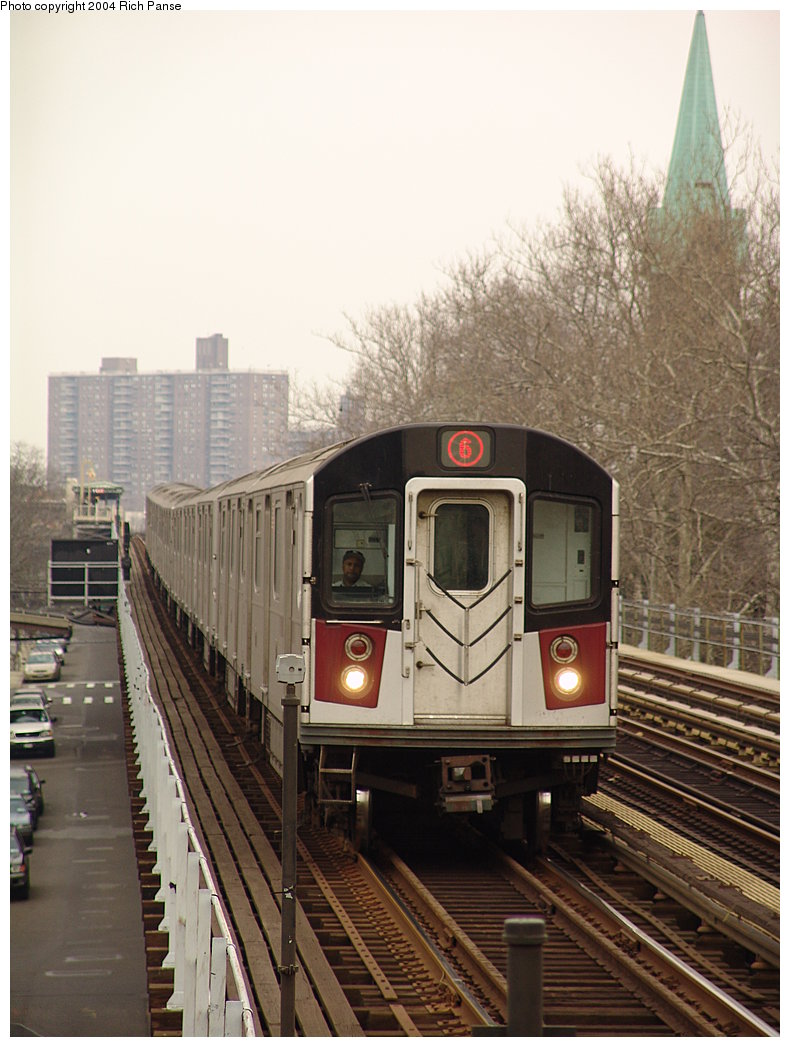 (178k, 790x1047)<br><b>Country:</b> United States<br><b>City:</b> New York<br><b>System:</b> New York City Transit<br><b>Line:</b> IRT Pelham Line<br><b>Location:</b> Zerega Avenue <br><b>Route:</b> 6<br><b>Car:</b> R-142 or R-142A (Number Unknown) 74xx <br><b>Photo by:</b> Richard Panse<br><b>Date:</b> 12/19/2004<br><b>Viewed (this week/total):</b> 1 / 3189