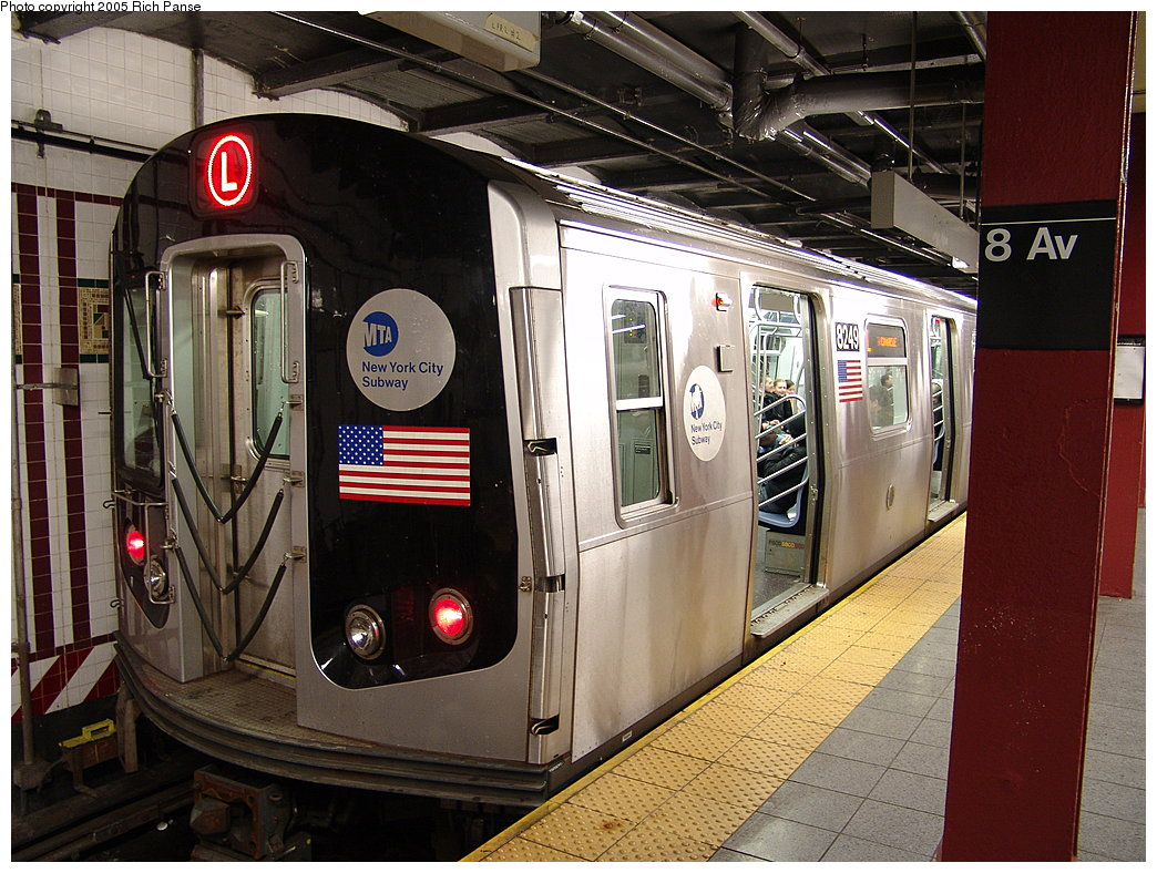 (234k, 1044x788)<br><b>Country:</b> United States<br><b>City:</b> New York<br><b>System:</b> New York City Transit<br><b>Line:</b> BMT Canarsie Line<br><b>Location:</b> 8th Avenue <br><b>Route:</b> L<br><b>Car:</b> R-143 (Kawasaki, 2001-2002) 8249 <br><b>Photo by:</b> Richard Panse<br><b>Date:</b> 1/1/2005<br><b>Viewed (this week/total):</b> 2 / 4343