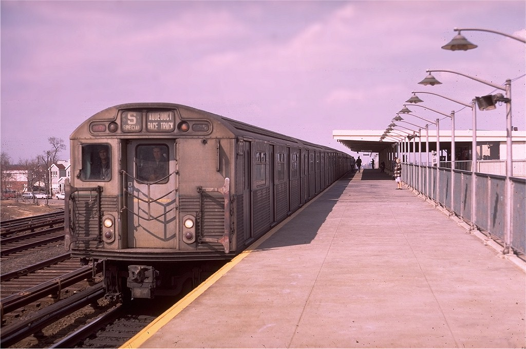 (175k, 1024x681)<br><b>Country:</b> United States<br><b>City:</b> New York<br><b>System:</b> New York City Transit<br><b>Line:</b> IND Rockaway<br><b>Location:</b> Aqueduct Racetrack <br><b>Route:</b> S<br><b>Car:</b> R-38 (St. Louis, 1966-1967)  4062 <br><b>Photo by:</b> Doug Grotjahn<br><b>Collection of:</b> Joe Testagrose<br><b>Date:</b> 3/15/1969<br><b>Viewed (this week/total):</b> 5 / 6064