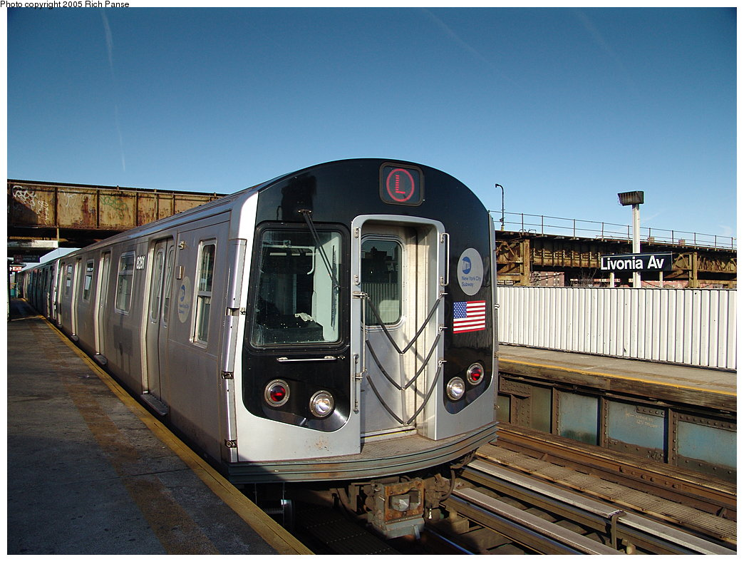 (205k, 1044x788)<br><b>Country:</b> United States<br><b>City:</b> New York<br><b>System:</b> New York City Transit<br><b>Line:</b> BMT Canarsie Line<br><b>Location:</b> Livonia Avenue <br><b>Route:</b> L<br><b>Car:</b> R-143 (Kawasaki, 2001-2002) 8281 <br><b>Photo by:</b> Richard Panse<br><b>Date:</b> 1/1/2005<br><b>Viewed (this week/total):</b> 3 / 3104