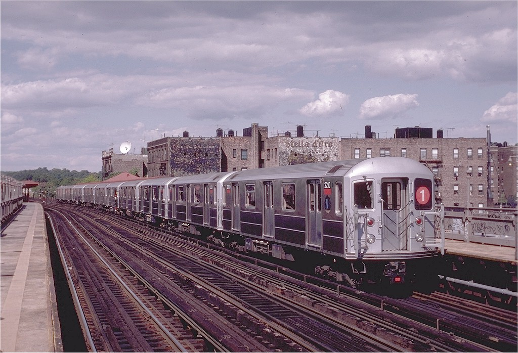 (232k, 1024x698)<br><b>Country:</b> United States<br><b>City:</b> New York<br><b>System:</b> New York City Transit<br><b>Line:</b> IRT West Side Line<br><b>Location:</b> 238th Street <br><b>Route:</b> 1<br><b>Car:</b> R-62A (Bombardier, 1984-1987)  2210 <br><b>Photo by:</b> Eric Oszustowicz<br><b>Collection of:</b> Joe Testagrose<br><b>Date:</b> 8/23/1987<br><b>Viewed (this week/total):</b> 0 / 4339