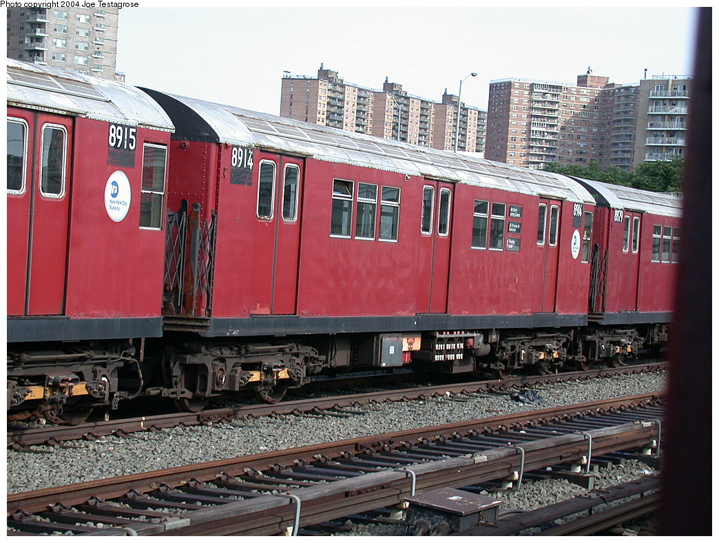 (266k, 1044x788)<br><b>Country:</b> United States<br><b>City:</b> New York<br><b>System:</b> New York City Transit<br><b>Location:</b> Coney Island Yard<br><b>Car:</b> R-33 Main Line (St. Louis, 1962-63) 8914 <br><b>Photo by:</b> Joe Testagrose<br><b>Date:</b> 7/25/2004<br><b>Viewed (this week/total):</b> 0 / 3009