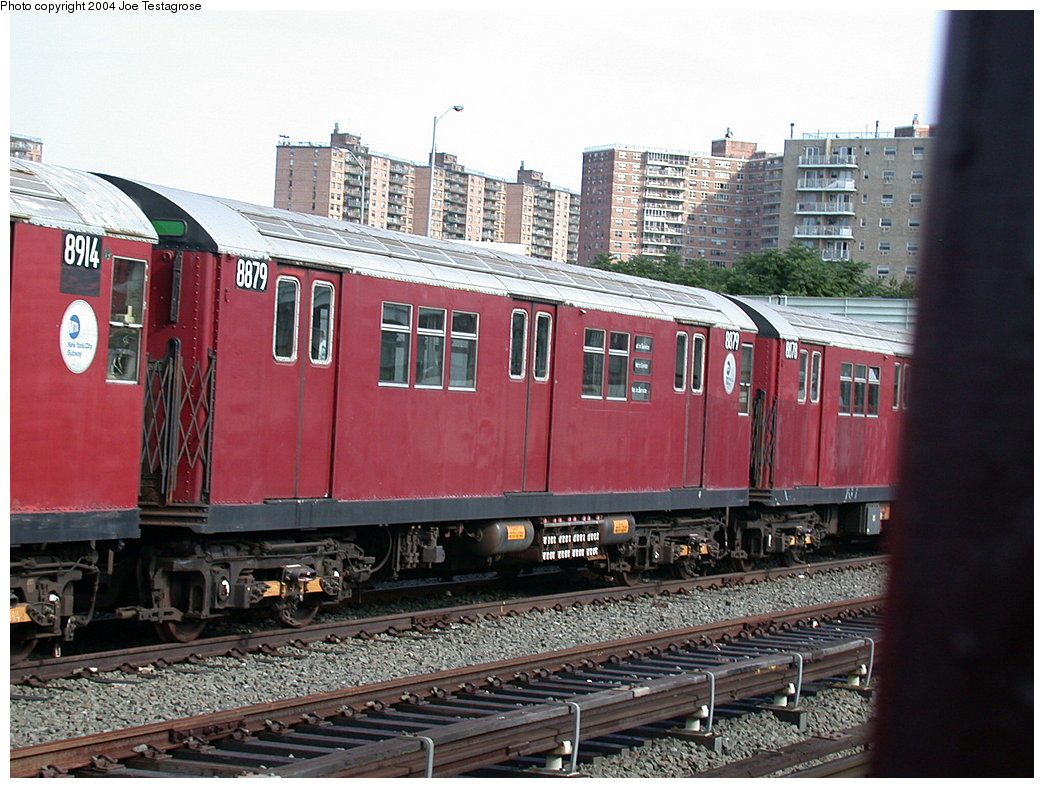 (235k, 1044x788)<br><b>Country:</b> United States<br><b>City:</b> New York<br><b>System:</b> New York City Transit<br><b>Location:</b> Coney Island Yard<br><b>Car:</b> R-33 Main Line (St. Louis, 1962-63) 8879 <br><b>Photo by:</b> Joe Testagrose<br><b>Date:</b> 7/25/2004<br><b>Viewed (this week/total):</b> 2 / 3003