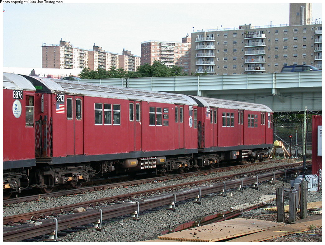 (280k, 1044x788)<br><b>Country:</b> United States<br><b>City:</b> New York<br><b>System:</b> New York City Transit<br><b>Location:</b> Coney Island Yard<br><b>Car:</b> R-33 Main Line (St. Louis, 1962-63) 8893 <br><b>Photo by:</b> Joe Testagrose<br><b>Date:</b> 7/25/2004<br><b>Viewed (this week/total):</b> 2 / 2743