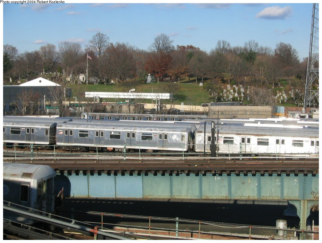(185k, 1044x788)<br><b>Country:</b> United States<br><b>City:</b> New York<br><b>System:</b> New York City Transit<br><b>Location:</b> East New York Yard/Shops<br><b>Car:</b> R-42 (St. Louis, 1969-1970)  4931 <br><b>Photo by:</b> Robert Kozlenko<br><b>Date:</b> 11/26/2004<br><b>Viewed (this week/total):</b> 2 / 3682