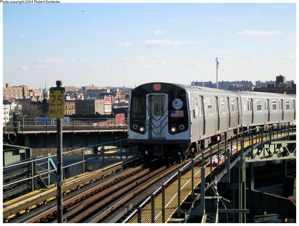 (177k, 1044x788)<br><b>Country:</b> United States<br><b>City:</b> New York<br><b>System:</b> New York City Transit<br><b>Line:</b> BMT Canarsie Line<br><b>Location:</b> Broadway Junction <br><b>Route:</b> L<br><b>Car:</b> R-143 (Kawasaki, 2001-2002)  <br><b>Photo by:</b> Robert Kozlenko<br><b>Date:</b> 11/26/2004<br><b>Viewed (this week/total):</b> 9 / 3788