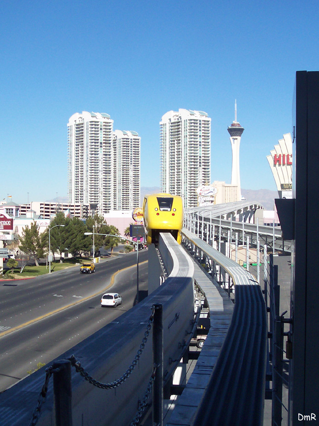 (228k, 648x864)<br><b>Country:</b> United States<br><b>City:</b> Las Vegas, NV<br><b>System:</b> Las Vegas Monorail<br><b>Location:</b> Las Vegas Convention Center <br><b>Photo by:</b> D. Reinecke<br><b>Date:</b> 1/13/2005<br><b>Notes:</b> Yellow train entering station<br><b>Viewed (this week/total):</b> 2 / 2843