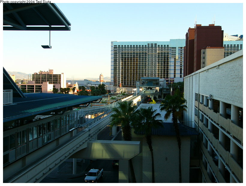 (122k, 820x620)<br><b>Country:</b> United States<br><b>City:</b> Las Vegas, NV<br><b>System:</b> Las Vegas Monorail<br><b>Location:</b> Harrah's/Imperial Palace <br><b>Photo by:</b> Ted Siuta<br><b>Date:</b> 8/27/2004<br><b>Notes:</b> View of Harrah's/Imperial Palace looking south to Flamingo/Caesar's.<br><b>Viewed (this week/total):</b> 1 / 1931