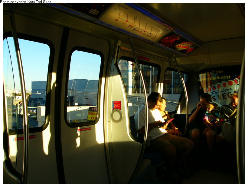 (109k, 820x620)<br><b>Country:</b> United States<br><b>City:</b> Las Vegas, NV<br><b>System:</b> Las Vegas Monorail<br><b>Location:</b> Monorail interior view. <br><b>Photo by:</b> Ted Siuta<br><b>Date:</b> 8/27/2004<br><b>Viewed (this week/total):</b> 0 / 2815