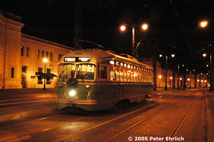 (138k, 720x478)<br><b>Country:</b> United States<br><b>City:</b> San Francisco/Bay Area, CA<br><b>System:</b> SF MUNI<br><b>Location:</b> Embarcadero/Bay <br><b>Car:</b> SF MUNI PCC (Ex-SEPTA) (St. Louis Car Co., 1947-1948)  1053 <br><b>Photo by:</b> Peter Ehrlich<br><b>Date:</b> 12/2/2004<br><b>Viewed (this week/total):</b> 0 / 703