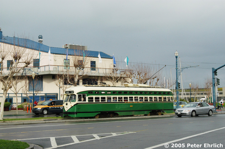 (141k, 720x478)<br><b>Country:</b> United States<br><b>City:</b> San Francisco/Bay Area, CA<br><b>System:</b> SF MUNI<br><b>Location:</b> Embarcadero/Pier 39 <br><b>Car:</b> SF MUNI PCC (Ex-SEPTA) (St. Louis Car Co., 1947-1948)  1062 <br><b>Photo by:</b> Peter Ehrlich<br><b>Date:</b> 12/31/2004<br><b>Viewed (this week/total):</b> 0 / 909