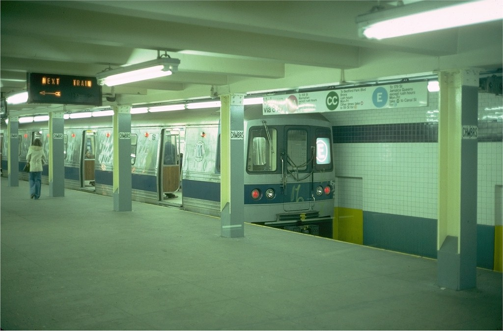 (137k, 1024x673)<br><b>Country:</b> United States<br><b>City:</b> New York<br><b>System:</b> New York City Transit<br><b>Line:</b> IND 8th Avenue Line<br><b>Location:</b> Chambers Street/World Trade Center <br><b>Route:</b> E<br><b>Car:</b> R-44 (St. Louis, 1971-73) 156 <br><b>Photo by:</b> Steve Zabel<br><b>Collection of:</b> Joe Testagrose<br><b>Date:</b> 4/9/1976<br><b>Viewed (this week/total):</b> 0 / 5877