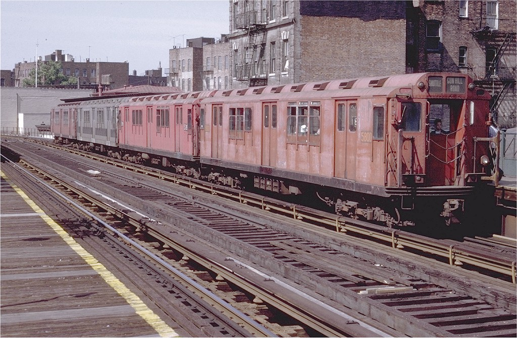 (266k, 1024x671)<br><b>Country:</b> United States<br><b>City:</b> New York<br><b>System:</b> New York City Transit<br><b>Line:</b> 3rd Avenue El<br><b>Location:</b> 180th Street <br><b>Route:</b> 8<br><b>Car:</b> R-12 (American Car & Foundry, 1948) 5800 <br><b>Photo by:</b> Doug Grotjahn<br><b>Collection of:</b> Joe Testagrose<br><b>Date:</b> 6/5/1971<br><b>Viewed (this week/total):</b> 1 / 3905