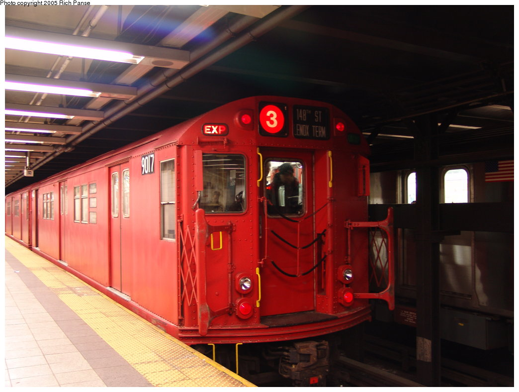 (151k, 1044x788)<br><b>Country:</b> United States<br><b>City:</b> New York<br><b>System:</b> New York City Transit<br><b>Line:</b> IRT Brooklyn Line<br><b>Location:</b> Flatbush Avenue <br><b>Route:</b> Fan Trip<br><b>Car:</b> R-33 Main Line (St. Louis, 1962-63) 9017 <br><b>Photo by:</b> Richard Panse<br><b>Date:</b> 2/27/2005<br><b>Viewed (this week/total):</b> 0 / 5129