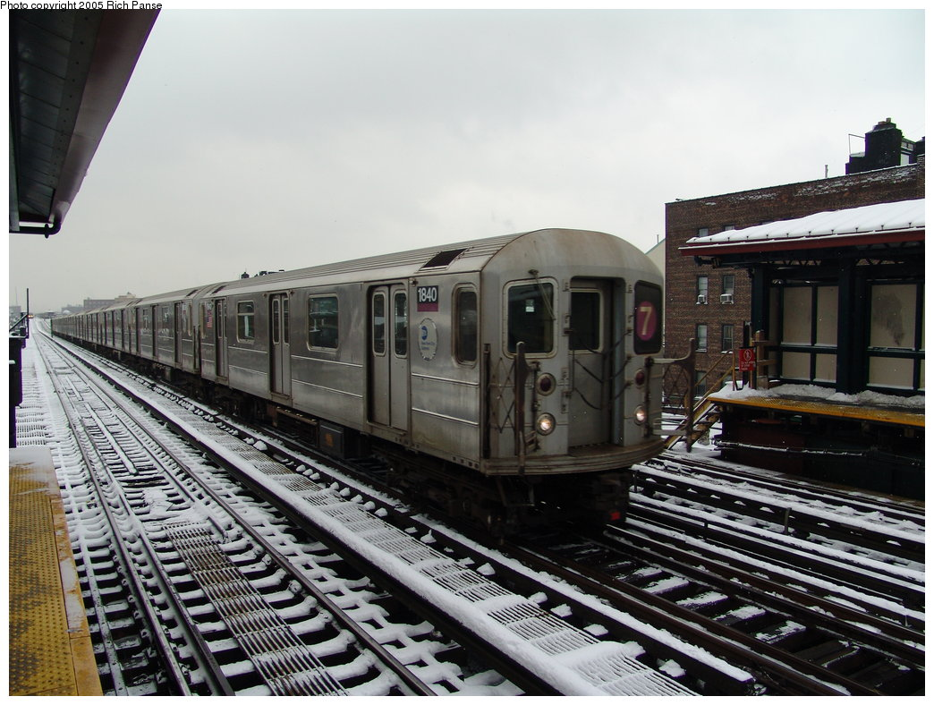 (202k, 1044x788)<br><b>Country:</b> United States<br><b>City:</b> New York<br><b>System:</b> New York City Transit<br><b>Line:</b> IRT Flushing Line<br><b>Location:</b> 74th Street/Broadway <br><b>Route:</b> 7<br><b>Car:</b> R-62A (Bombardier, 1984-1987)  1840 <br><b>Photo by:</b> Richard Panse<br><b>Date:</b> 3/1/2005<br><b>Viewed (this week/total):</b> 0 / 1989