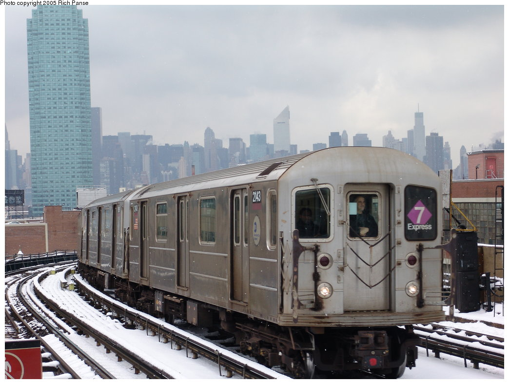 (171k, 1044x788)<br><b>Country:</b> United States<br><b>City:</b> New York<br><b>System:</b> New York City Transit<br><b>Line:</b> IRT Flushing Line<br><b>Location:</b> 33rd Street/Rawson Street <br><b>Route:</b> 7<br><b>Car:</b> R-62A (Bombardier, 1984-1987)  2143 <br><b>Photo by:</b> Richard Panse<br><b>Date:</b> 3/1/2005<br><b>Viewed (this week/total):</b> 0 / 2950