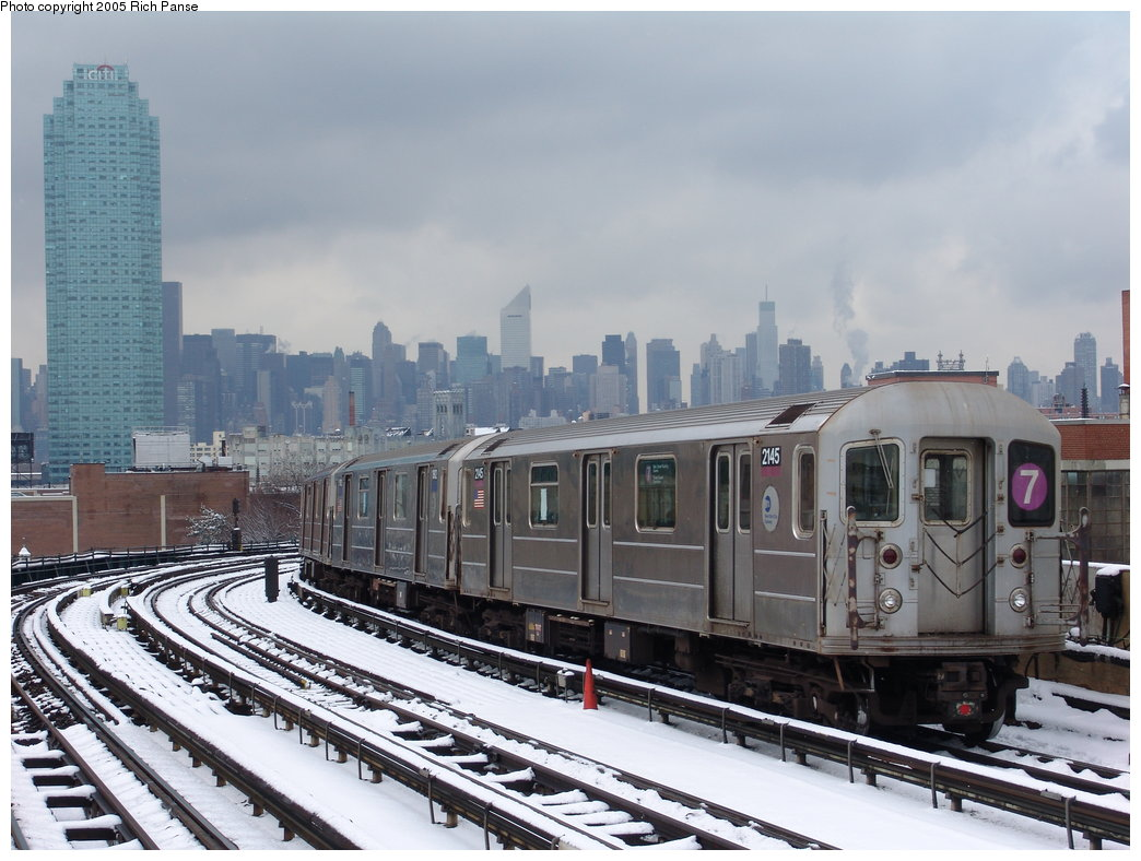 (179k, 1044x788)<br><b>Country:</b> United States<br><b>City:</b> New York<br><b>System:</b> New York City Transit<br><b>Line:</b> IRT Flushing Line<br><b>Location:</b> 33rd Street/Rawson Street <br><b>Route:</b> 7<br><b>Car:</b> R-62A (Bombardier, 1984-1987)  2145 <br><b>Photo by:</b> Richard Panse<br><b>Date:</b> 3/1/2005<br><b>Viewed (this week/total):</b> 0 / 2550