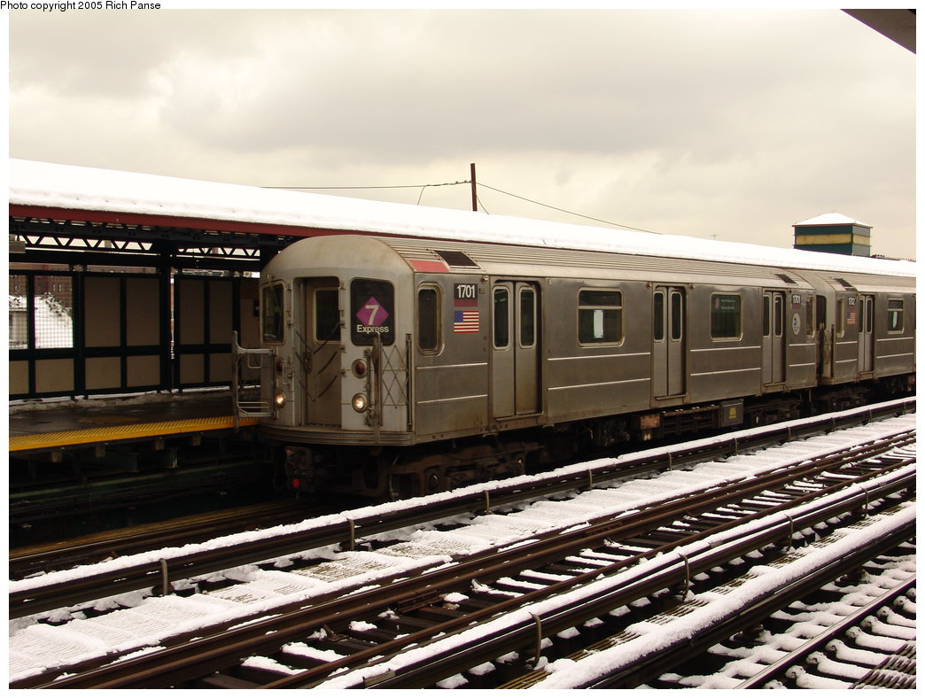 (191k, 1044x788)<br><b>Country:</b> United States<br><b>City:</b> New York<br><b>System:</b> New York City Transit<br><b>Line:</b> IRT Flushing Line<br><b>Location:</b> 74th Street/Broadway <br><b>Route:</b> 7<br><b>Car:</b> R-62A (Bombardier, 1984-1987)  1701 <br><b>Photo by:</b> Richard Panse<br><b>Date:</b> 3/1/2005<br><b>Viewed (this week/total):</b> 2 / 2205