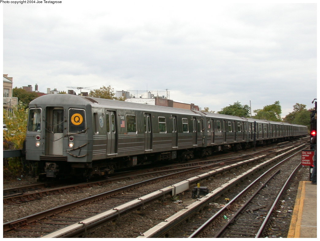 (183k, 1044x788)<br><b>Country:</b> United States<br><b>City:</b> New York<br><b>System:</b> New York City Transit<br><b>Line:</b> BMT Brighton Line<br><b>Location:</b> Kings Highway <br><b>Route:</b> Q<br><b>Car:</b> R-68A (Kawasaki, 1988-1989)  5046 <br><b>Photo by:</b> Joe Testagrose<br><b>Date:</b> 10/23/2004<br><b>Viewed (this week/total):</b> 4 / 2885