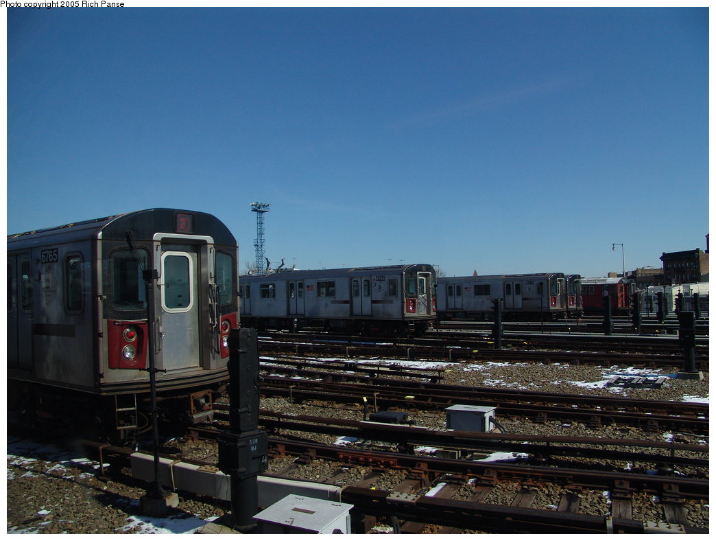 (166k, 1044x788)<br><b>Country:</b> United States<br><b>City:</b> New York<br><b>System:</b> New York City Transit<br><b>Location:</b> Unionport Yard<br><b>Car:</b> R-142 (Primary Order, Bombardier, 1999-2002)  6765/6766/6831 <br><b>Photo by:</b> Richard Panse<br><b>Date:</b> 2/27/2005<br><b>Viewed (this week/total):</b> 5 / 3304